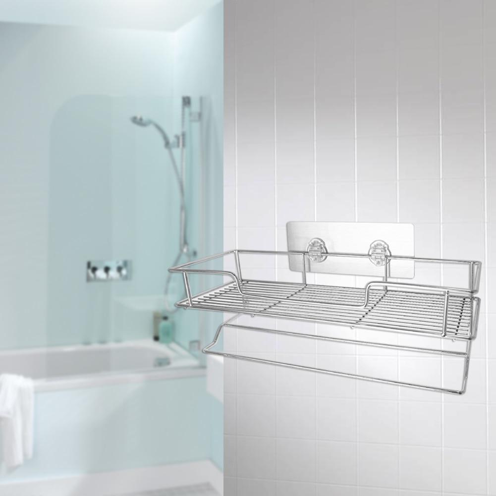 wall mount seamless stainless steel storage basket shower room bathroom towel rack soap dish shampoo rack