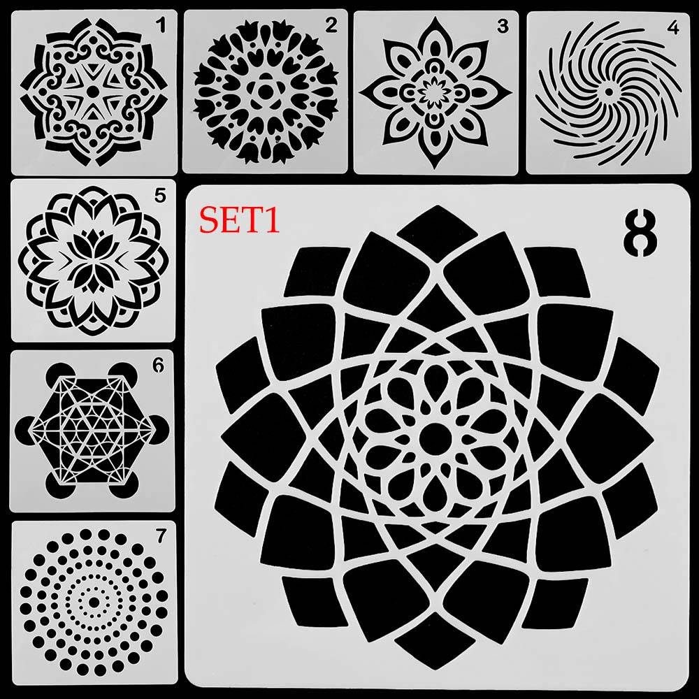 Stamp Painting template Layering Stencils Mandala Auxiliary Scrapbooking