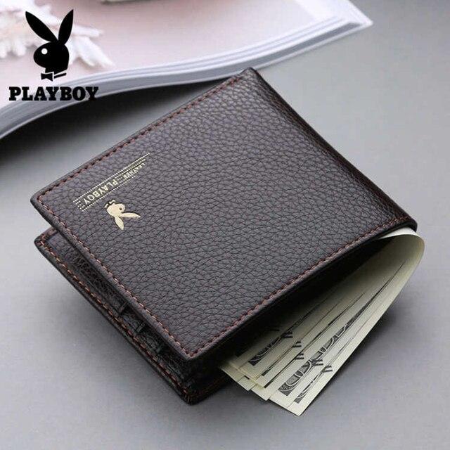 68acc6075a Playboy Uomini Del Cuoio Del Raccoglitore di Marca di Lusso Brevi Portafogli  Ufficio Maschio Supporto di