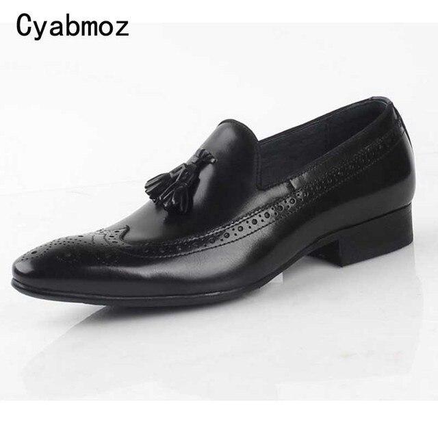 b07132340d7 Cyabmoz Men shoes Handmade Men Black Genuine Leather shoes Classical Brogue  Carved Fringe Party Men Dress Loafers Office Oxfords