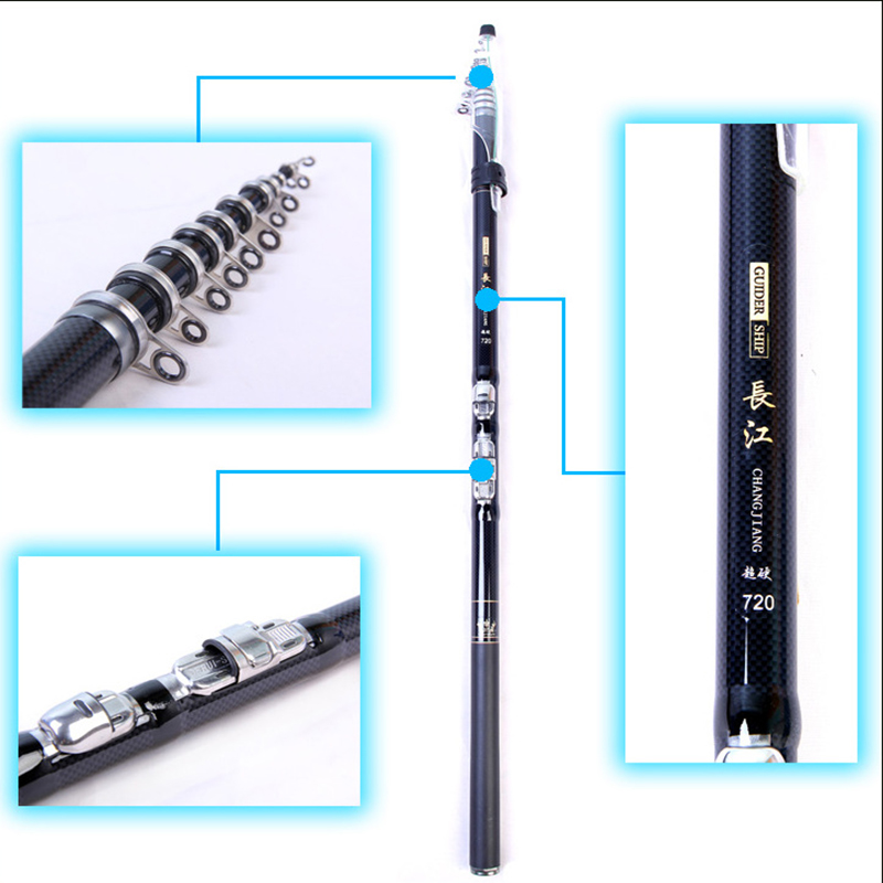 99% carbon fiber fishing rod 3.6 / 4.5 / 5.4 / 6.3 / 7.2m Spinning Fishing Rod M Power Telescopic Rock Fishing Rod