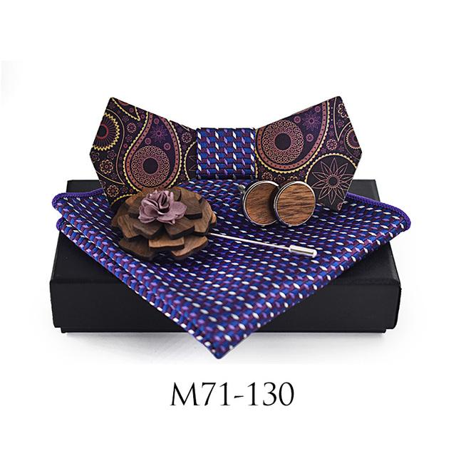 ZDJMEITRXDOOW Man Fashion Wooden Bowtie  Paisley Corbatas Gravata Jacquard Tie Handkerchief Cufflinks Tie For Men Gift Box