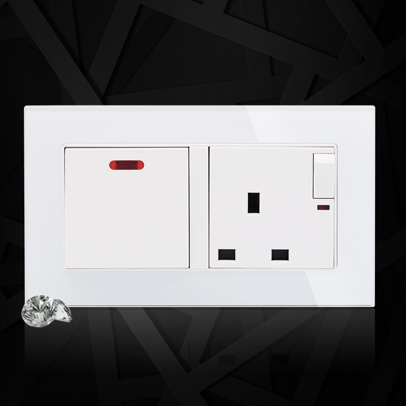 Crystal Glass Panel 146 UK Standard 20A Wall Socket + 1 Gang 1 Way Push Button Light Switch With LED Indicator