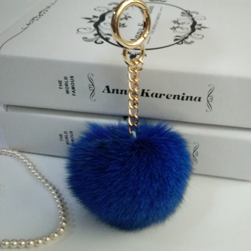 Fluffy 8cm Fox Fur Pom poms Ball Key Chain Purse Bag Car Pendant Charm Bag Accessories