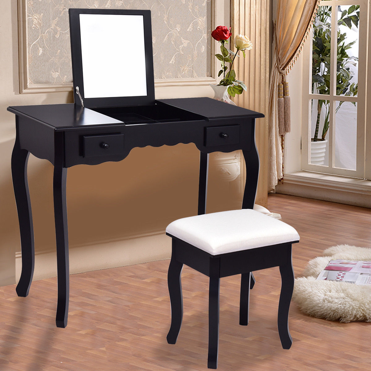 все цены на Giantex Modern Vanity Dressing Table Set Mirrored Bathroom Furniture With Stool Table Black Make Up Dresser Desk HW56231BK