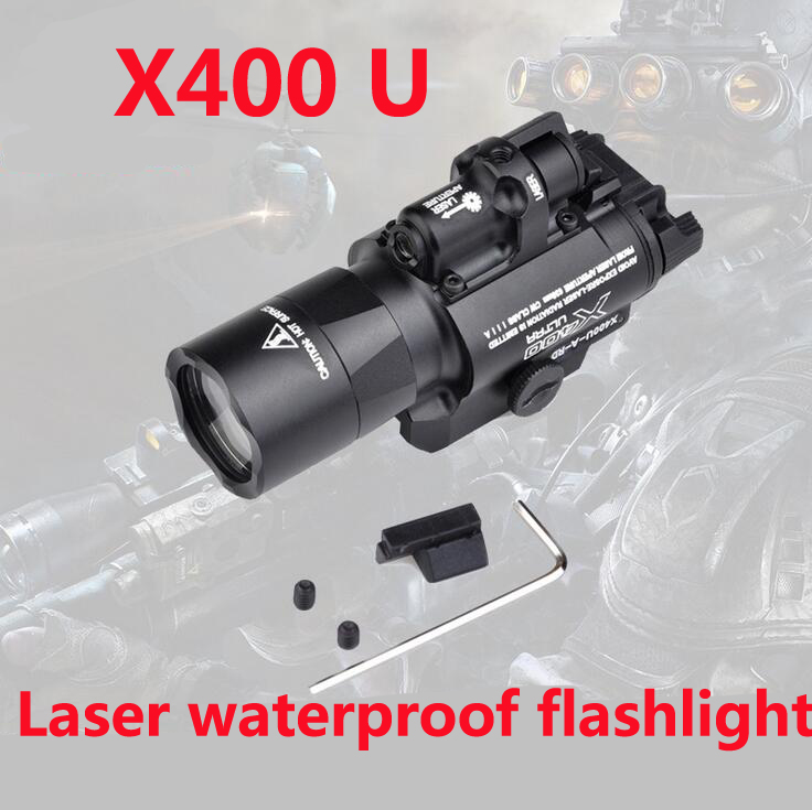 Hunting flashlight SF X400U ULTRA LED Tactical Light 20mm Picatinny Weaver Rail Weapon Light With Red Laser For Pistol tactical light led weapon light picatinny rail mount shooting hunting sf x300 ultra m7155