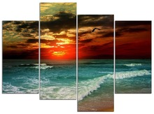 4 pieces / set of seaside sunset painting art wall living room decoration canvas paint in the frame  XJDC12-34