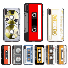 IMIDO Audio cassette design black silicone Half-wrapped case For iPhone Apple 5 6 7 8  5s/6s X XS XR XSmax 6/6S/7/8plus se shell