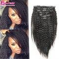 Clip en extensiones de cabello humano kinky clip recto en el cabello extensiones 6A Brasileño de la virgen del pelo clip afroamericana en 7 10 unids