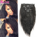 Clip in human hair extensions kinky straight clip in hair extensions 6A Brazilian virgin hair african american clip in 7 10pcs