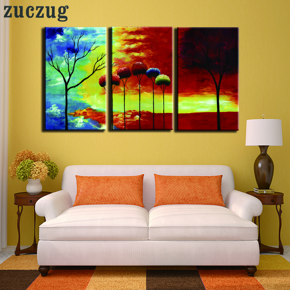Unframed Oil Painting Colour Abstract Tree Art Wall Picture for ...
