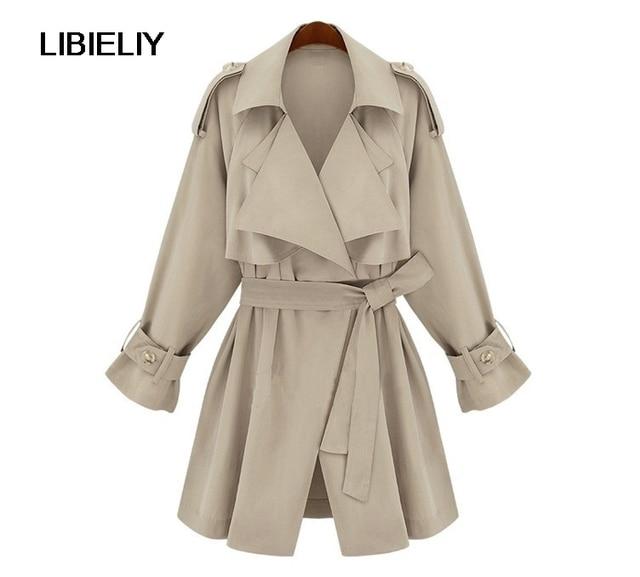 Européenne Marque Nouveau Style Belle Printemps Automne Femmes Trench Beige  manteau Avec Ceinture Pardessus Femelle Vêtements 6eadde8b930