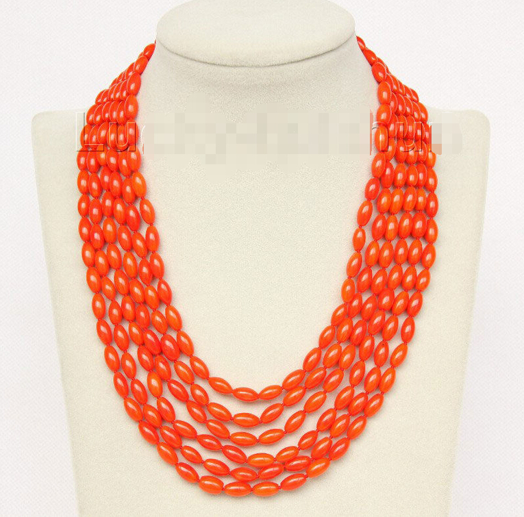 16 21 6row 5X8mm olivary orange coral necklace magnet clasp j9777 Noble style Natural Fine jewe fast SHIPPING