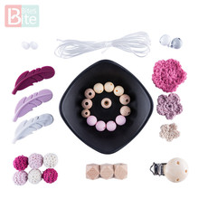 Bite Bites 1Set Feather DIY Set Silicone Teether Crochet Flower Food Grade Beads Teething Baby Toys Making Goods