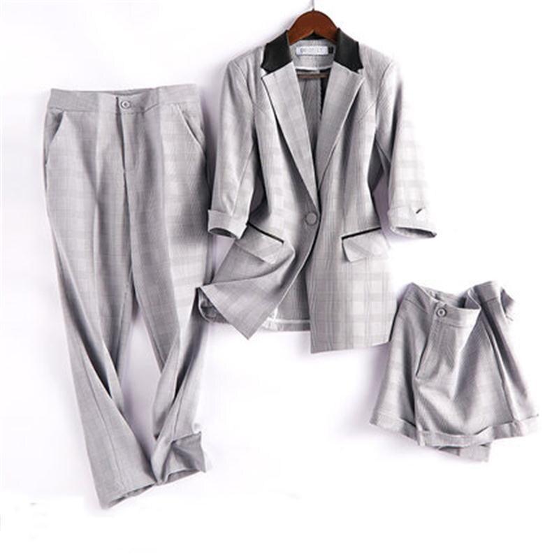 Moda Plaid garnitury kobiet nowy plaid garnitur casual kobieta brytyjski wiatr własnej uprawy temperament profesjonalny kombinezon kombinezon w Zestawy damskie od Odzież damska na  Grupa 1