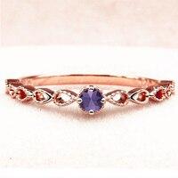 SOLID 14 К розовое золото Природный аметист Для женщин Обручение обручальное кольцо Винтаж Книги по искусству Ретро груша Форма хвостовиком P К