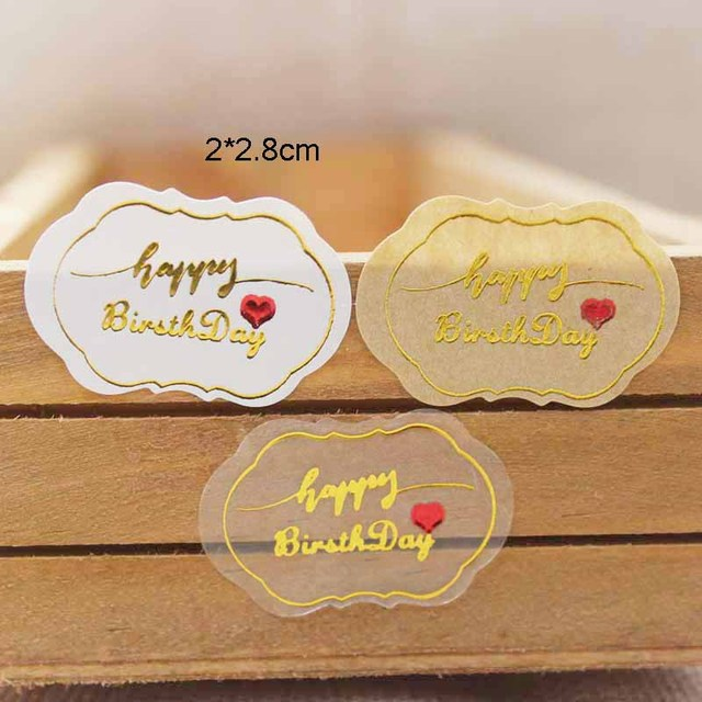 100PCS PVC Clear Happy Birthday Sticker Labels Gold Foil Gift Lables Tag Self Seal Handmade With Love
