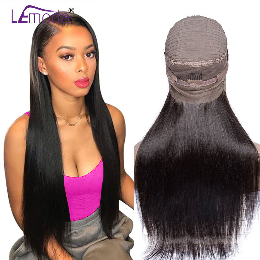 360 Lace Frontal Wig Pre Plucked With Baby Hair Brazilian Straight Wig 150 Density Lemoda Remy