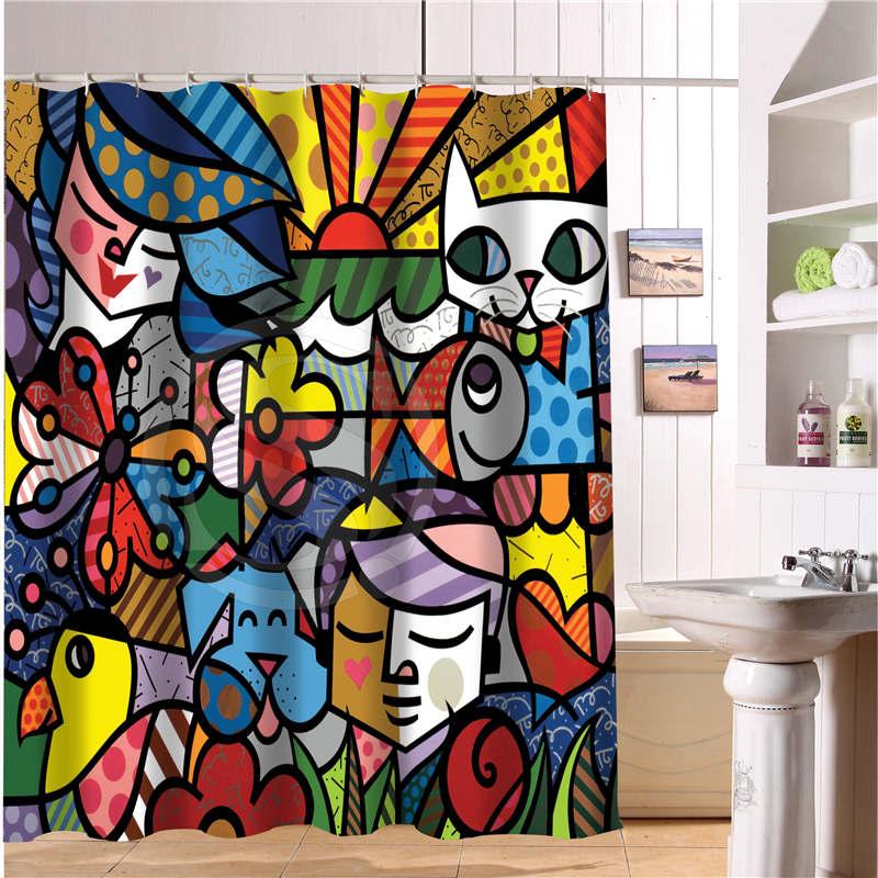 003 CUSTOM WJY510H24 Custom Art  do Romero Britto Fabric Modern Shower Curtain bathroom Waterproof  Free Shipping  N24