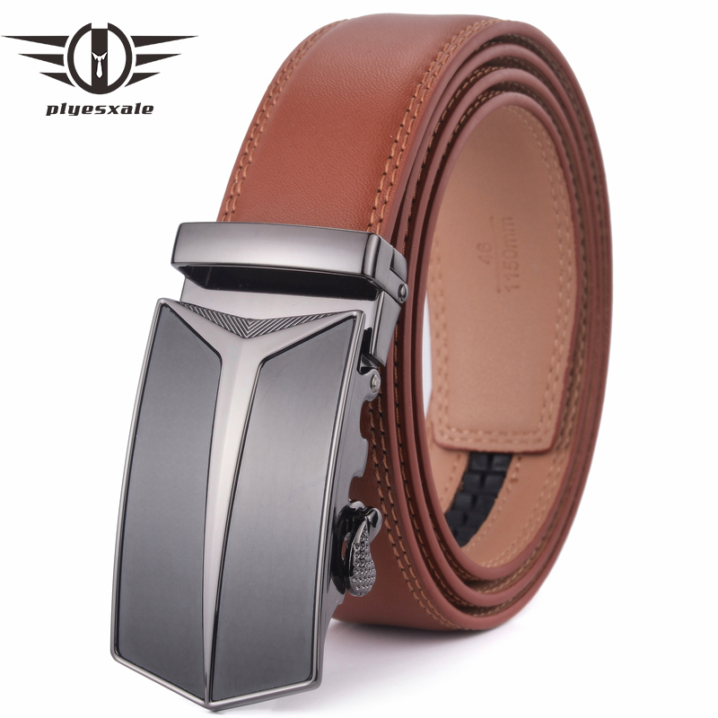 Plyesxale Brand Brown   Belt   Men Luxury Men's Designer High Quality   Belts   Cowskin Genuine Leather   Belts   Automatic Cinturon G23