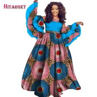 2019 autumn african dress for women HITARGET private custom long sleeve floor length women dress plus size print cotton WY2441