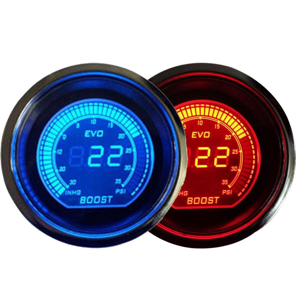 Universal 2 52mm Turbo Boost Vacuum Gauge PSI Blue Red Dual Led Color Digital LED Light