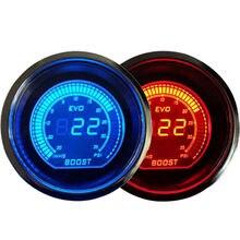 """Универсальный 2 """" 52 мм турботаймер повышение вакуумметра PSI синий / красный двухцветный из светодиодов цветной цифровой из светодиодов свет метр"""