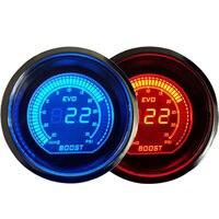 Universal 2 52mm Turbo Boost Vacuum Gauge PSI Blue/Red Dual Led Color Digital LED Light Gauge Meter