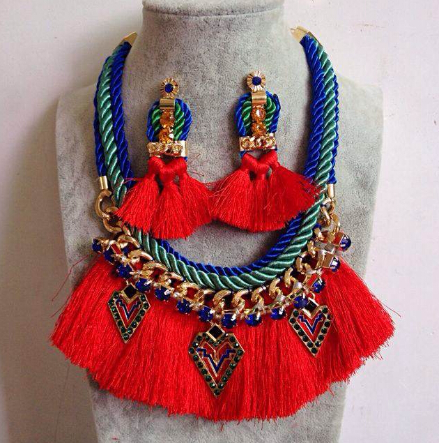 Ethnic Bohemia Ribbon Gold Link Rope Chain Crystal Charms Red Thread Tassels Choker Necklace & Earring Tribal Gypsy Jewelry Set