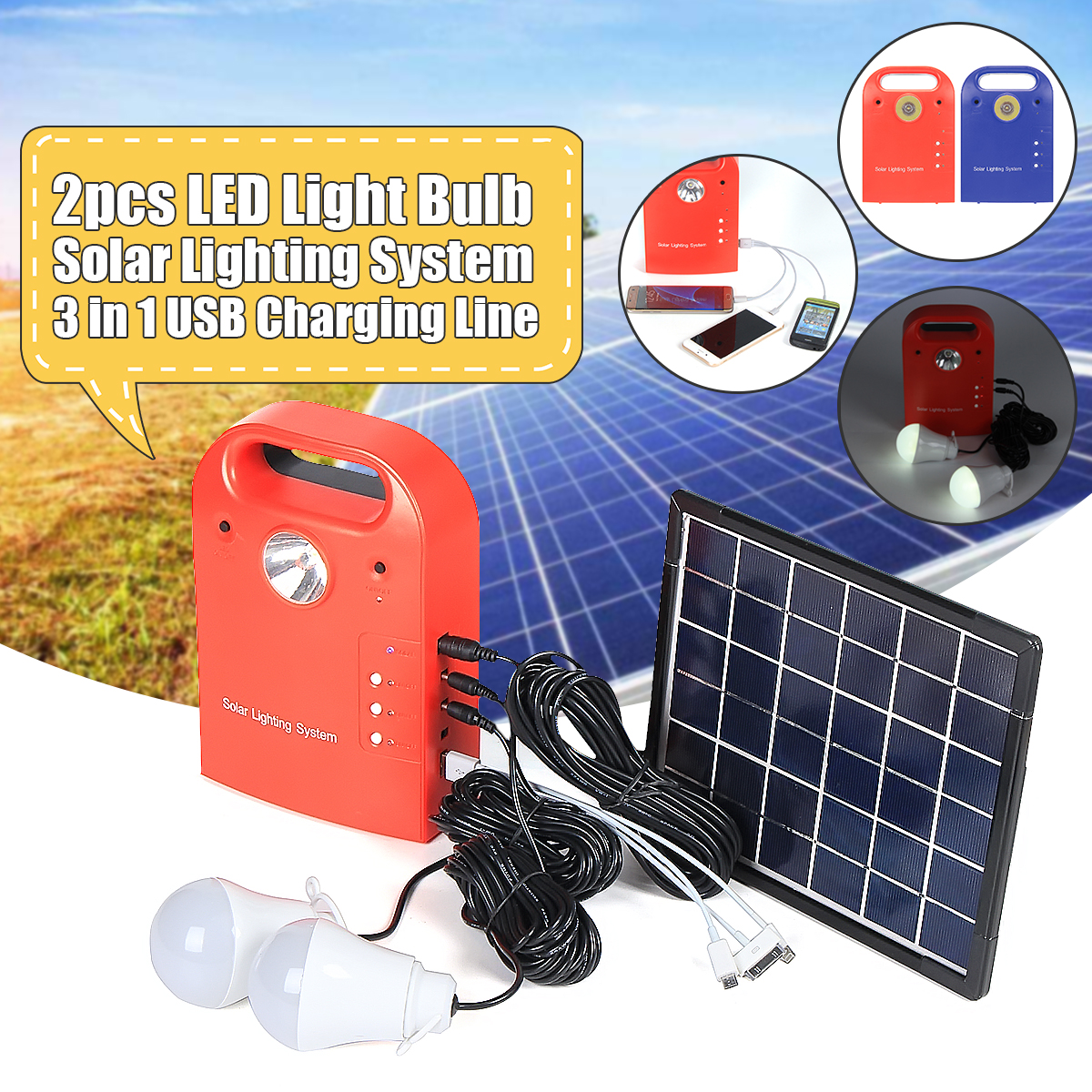 5W Portable Small DC Home Outdoor Lighting Solar Panels Charging Generator Power System