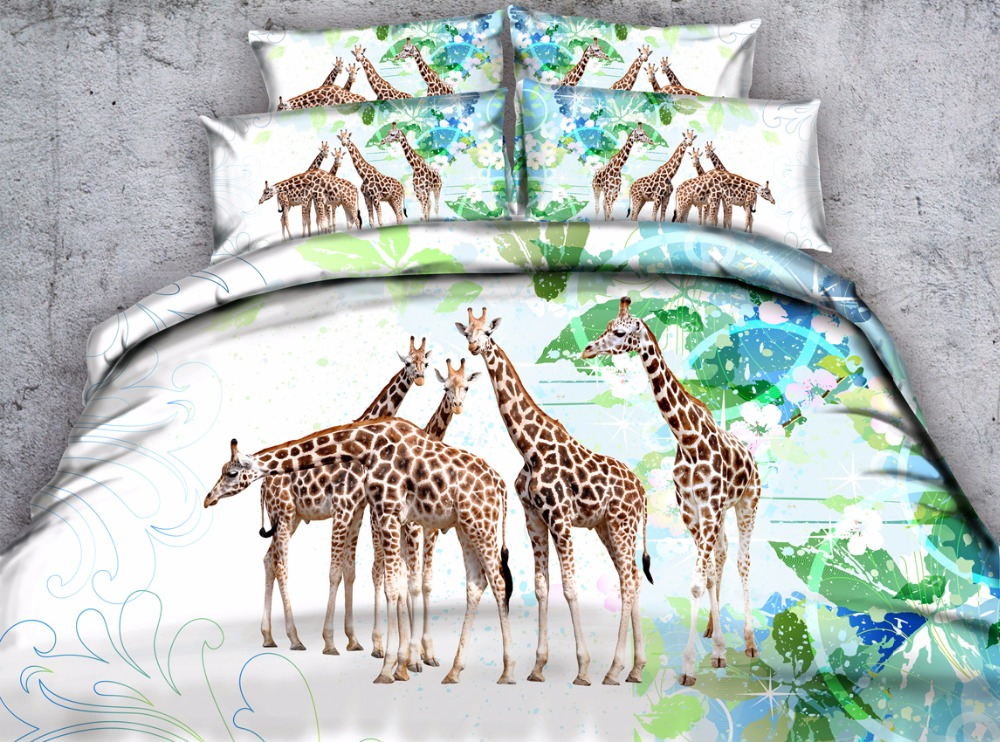 giraffe printed queen duvet cover 3d animal pattern bed sheet set 4pcs twin full king kids children bedroom decor gift white