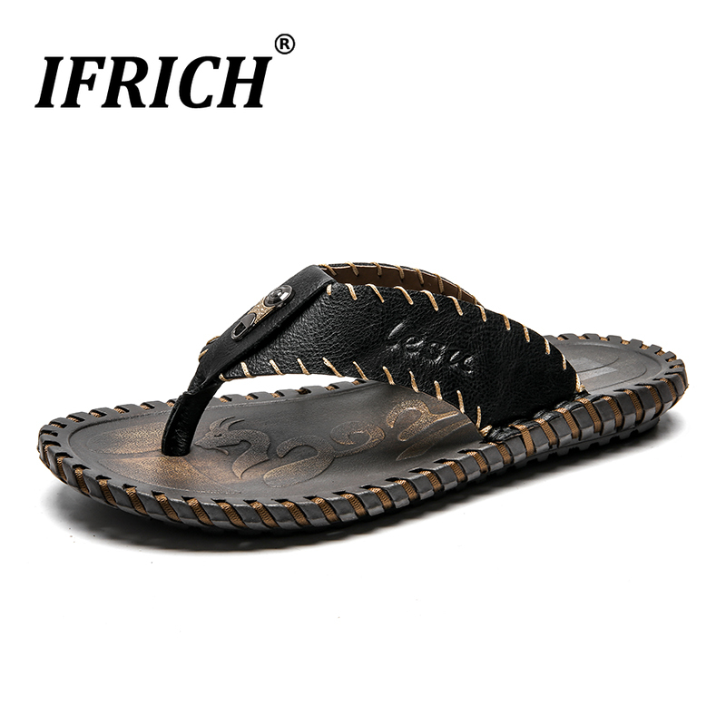2019 New Luxury Beach Casual Shoes For Men Handmade Man Leather Slippers Flat Man Flip Flops Black Brown Mens Shower Slippers(China)