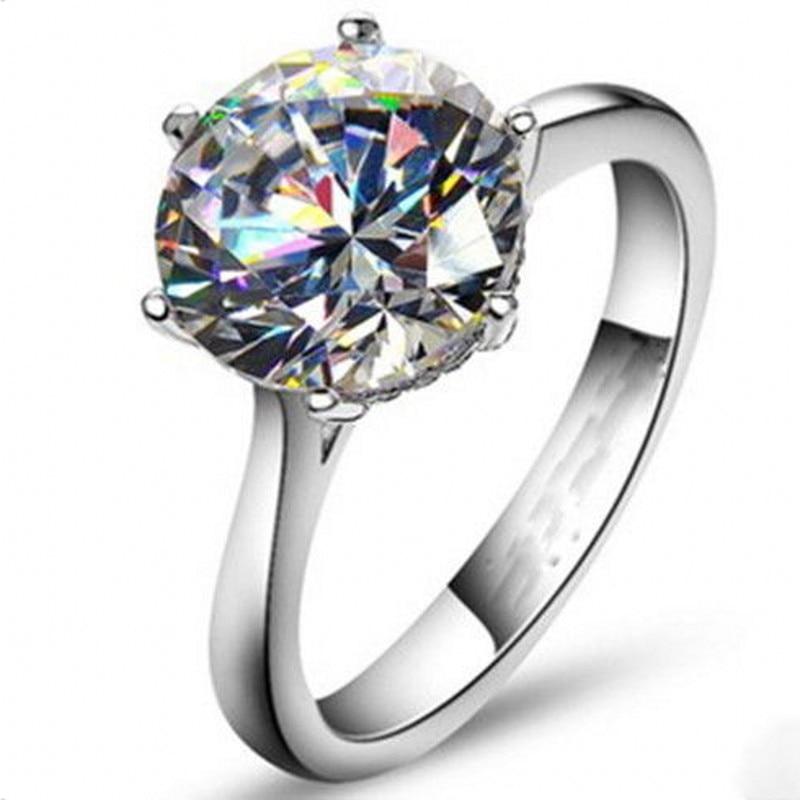 Vecalon 2016 Marke Weibliche Solitaire ring 4ct AAAAA Zirkon cz 925 Sterling Silber Engagement hochzeit Band ring für frauen