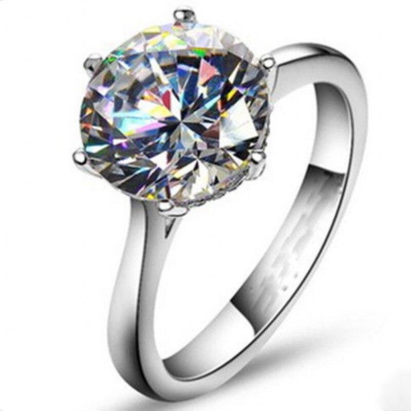 Vecalon 2016 di Marca Femminile Solitaire anello 4ct AAAAA Zircone cz 925 Sterling Silver Fidanzamento wedding Band ring per le donne