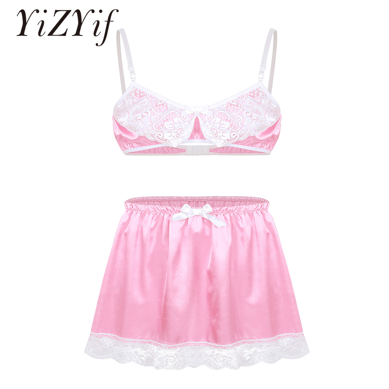 Mens Sissy Panties Smooth Satin Lace Lingerie Adjustable Spaghetti Shoulder Straps Bra Top With Elastic Waistband Short Skirt
