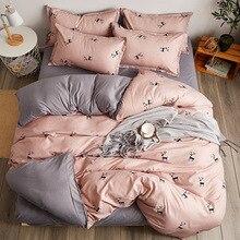 2019 reversible bedding set Pastoral duvet cover flat sheet modern bed linen pink black reindeer bed set AB side home decor bed