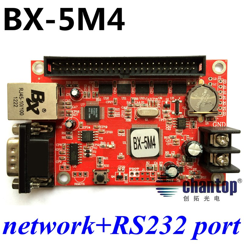 BX-5M4 network + Serial communication led control card 1536*96pixels LED screen display controller for single & double color wavelets in image communication 5