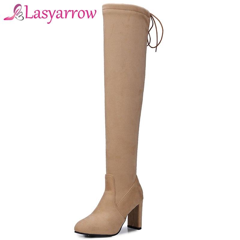 Lasyarrow Mujer Bottes Lace Over Femme genou D'hiver De Up Chunky jaune Mode gris Haute Chaussures Stretch Sexy Talons the Botas Cuisse Noir Ajc5R34Lq