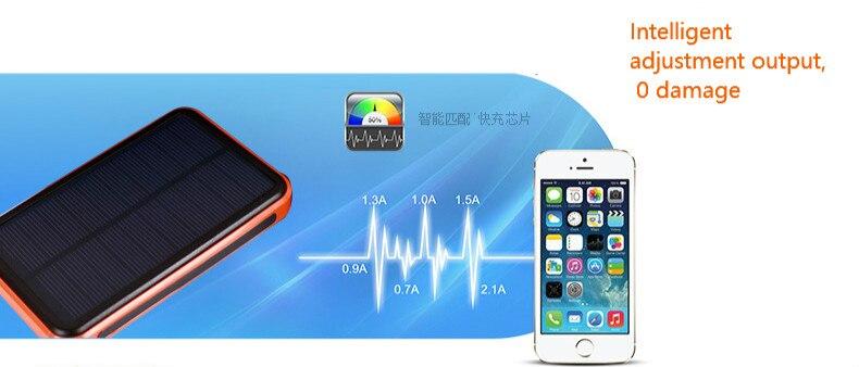 Solar Replacement Batteries for Dual USB Phones Replacement Batteries 30000 mAh Waterproof Power Bank Bateria External Portable