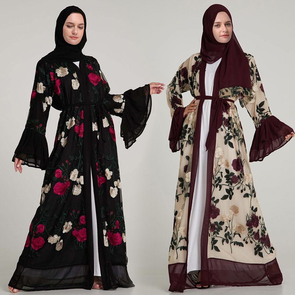 Luxury Muslim Embroidery Floral Abaya Full Dresses Flare Sleeve Cardigan Kimono Long Robe Tunic Middle East Ramadan Arab Islamic