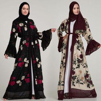 Luxury Muslim Embroidery Floral Abaya Full Dresses Flare Sleeve Cardigan Kimono Long RobeIslamic