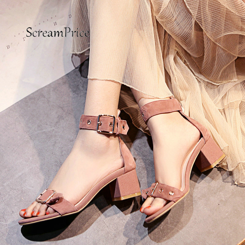 Women Suede Comfortable Square Heel With Buckle Strap Sandals Fashion Open Toe Dress Summer Shoes Black Pink Beige sandals new summer 2017 basic shoes woman open back strap sandal square heel fashion beige black 35 40 free shipping bassiriana