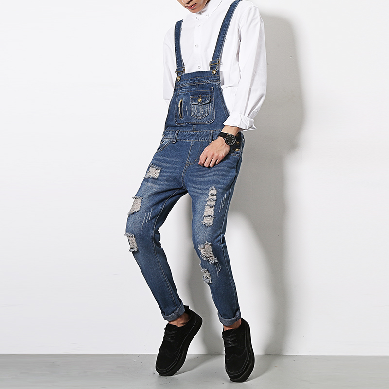 ФОТО Men Slim Fit Blue Denim Overalls Ripped Bib Jeans New 2017 Male Distressed Overall Denim Pants Garment Washed Free Shipping