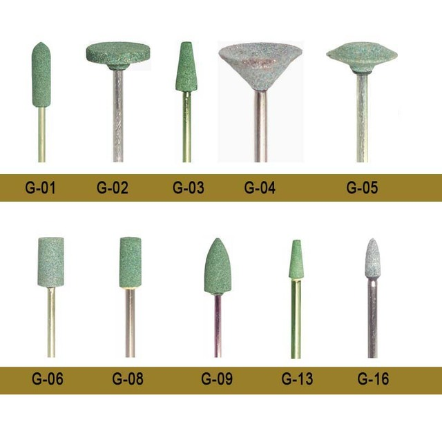 Ceramic Polishing Stones : Pcs box dental stone burs with green color medium
