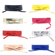 New Fashion Women belt Soft Leather Wide Self Tie Wrap Around Waist Band Dress self tie belt