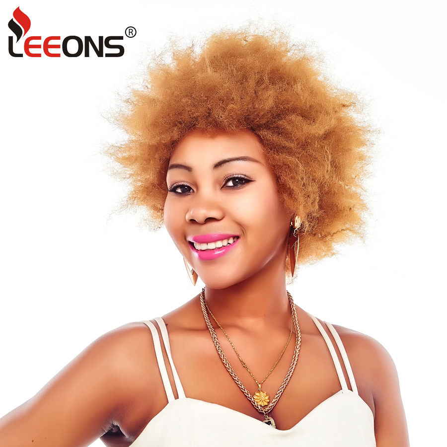 Leeons Synthetic Wig Short Curly Wigs Afro Kinky Straight Black Hair For African American Women High Temperature Fiber 100g