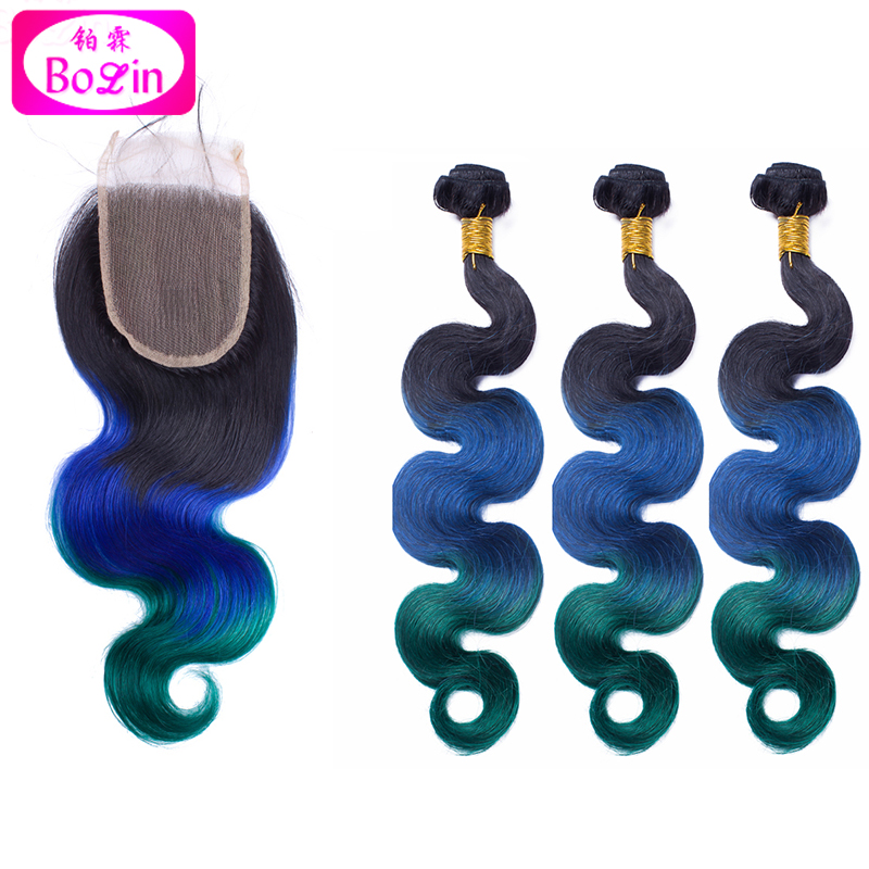 #1b/blue/green Human Hair with Closure Body Wavy Hair Weaves and Lace Closure Brazilian Virgin Hair 3 Bundles with Closure