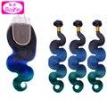 #1b/blue/green Human Hair with Closure Body Wavy Hair Weaves and Lace Closure Brazilian Virgin Hair 3 Bundles with Closure