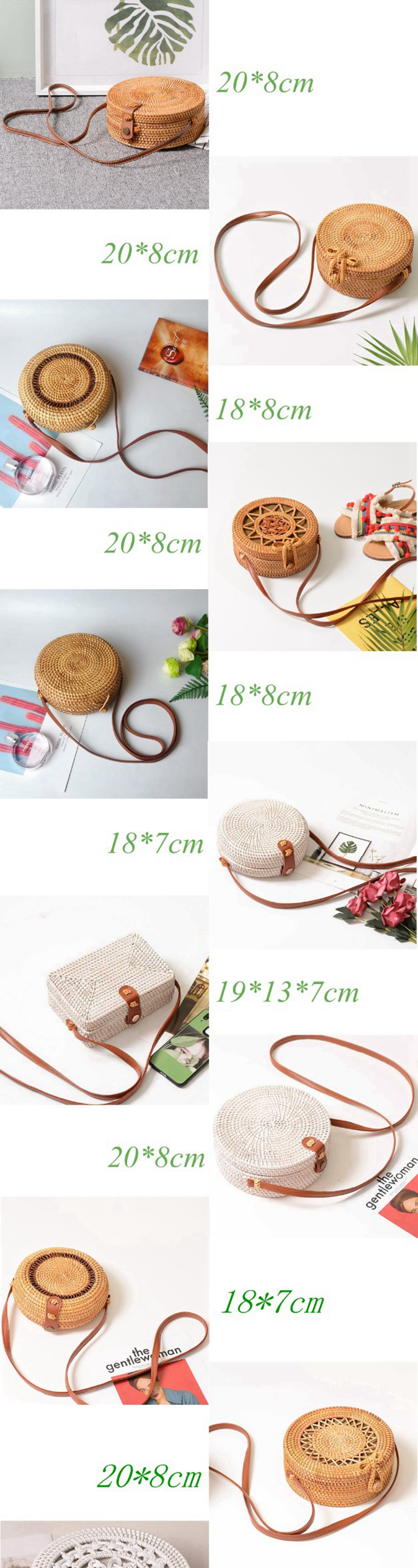 Bali Vintage Handmade Crossbody Leather Bag Round Beach Bag Girls Circle Rattan bag Small Bohemian Shoulder bag 9