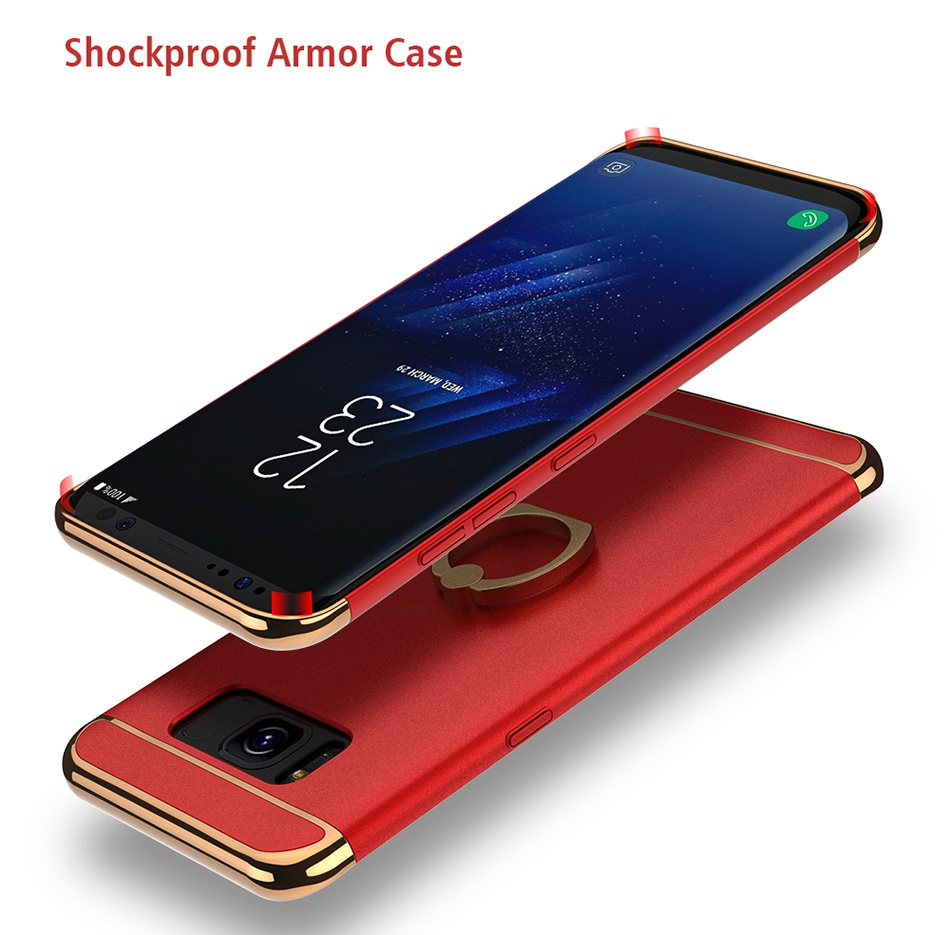 Ring Holder Cover For Samsung Galaxy S8 Plus S8 Case 3 in 1 Combo Armor Stand Phone Bag Cases  (10)